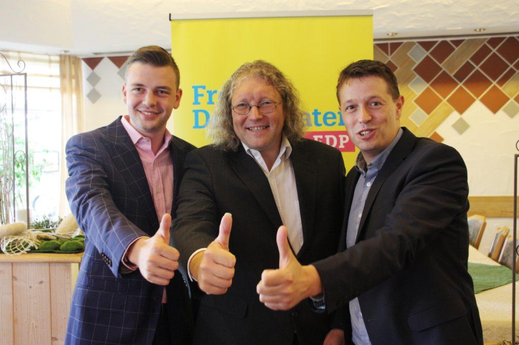 Die Kandidaten der FDP für die Landtags- und Bundestagswahl 2017: v.l.n.r. Ben Dinklage, Prof. Dr. Ralf Klapdor, Stephan Haupt.